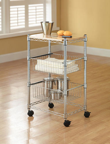 Wire Shelving Menards | Whalen 20 W X 34 H X 14 D Chrome Wire Cart With Baskets At Menards