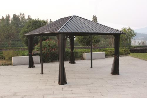 backyard creations sambra grande steel roof gazebo at menards - Metal Roof Gazebo
