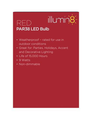 Illumin8 Red 9 Watt Par38 Indoor Outdoor Flood Led Flood