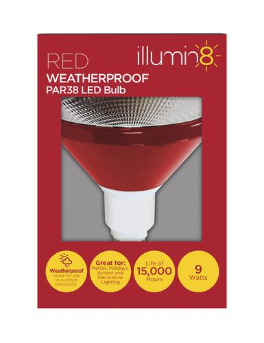 Illumin8 Red 9 Watt Par38 Indoor Outdoor Flood Led Light Bulb