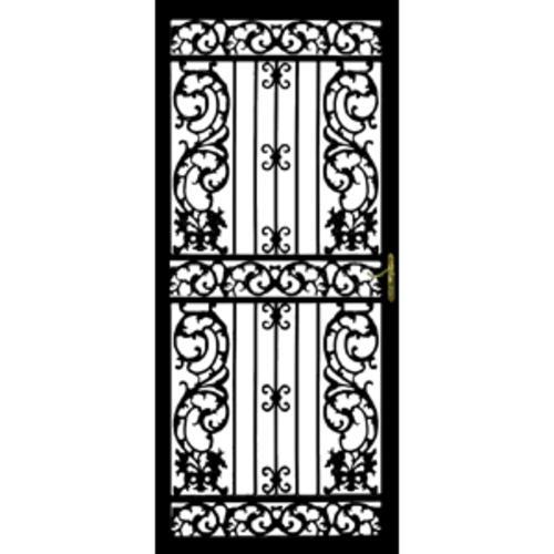 storm doors menards. Grisham Bird of Paradise 36  x 80 Black Steel Left Hinged Security Door at Menards