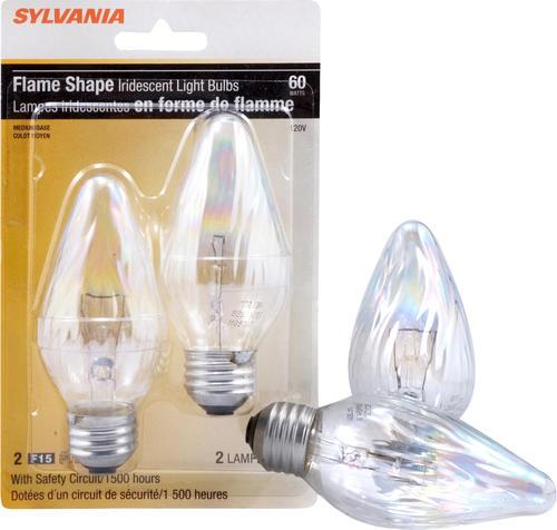 sylvania 60watt f15 iridescent dimmable light bulbs 2 pk at menards