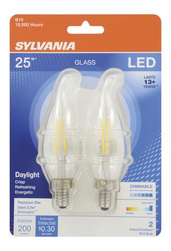 Led Light Bulb Daylight: Sylvania® 25W Equivalent B10 Daylight Dimmable LED Light