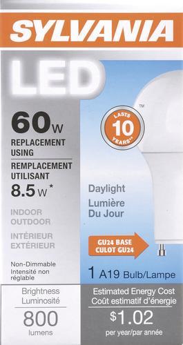Led Light Bulb Daylight: Sylvania® 60W Equivalent A19 Daylight GU24 LED Light Bulb