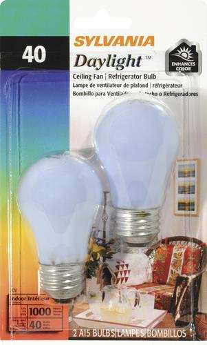 Sylvania 40 Watt A15 120v Daylight Fan Dimmable Incandescent Light Bulb 2 Pk