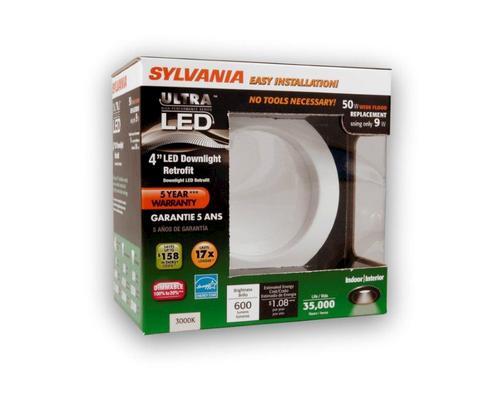 sylvania 9 watt 600 lumens 4 led downlight retrofit kit at menards