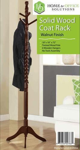 Home To Office Solutionsu0026reg; Walnut Finish Twisted Coat Tree