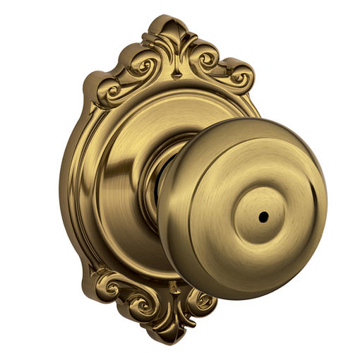 Schlage® Georgian Antique Brass Bed & Bath Privacy Knob with Brookshire Decorative Rose