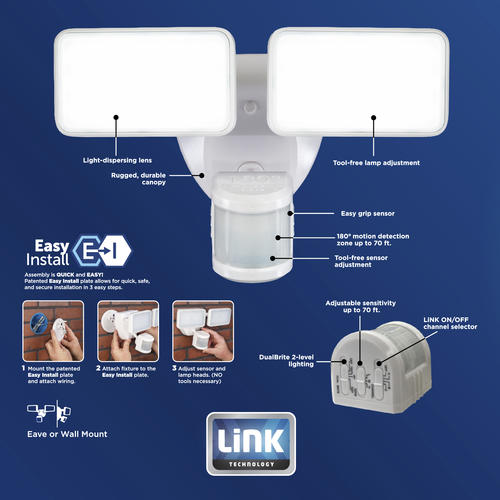 Heath Zenith Link Dual Head Led Motion Sensor Outdoor Security