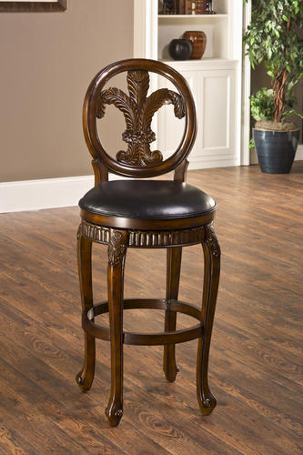 Fleur de Lis Seat Height Triple Leaf Bar Stool with Leather Seat at Menards