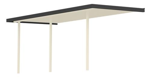 25' Wide x 14' Projection x 8' High Posts Americana Sierra Attached Midwest Patio Cover/Carport Ivory Roof/Posts , Black Gutter
