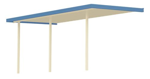 25' Wide x 11' Projection x 8' High Posts Americana Sierra Attached Midwest Patio Cover/Carport Ivory Roof/Posts Blue Gutter