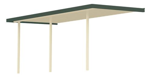 """13' 4"""" Wide x 7' Projection x 8' High Posts Americana Sierra Attached Midwest Patio Cover/Carport Ivory Roof/Posts Dark Green Gutter"""