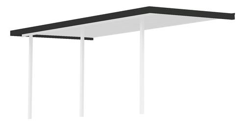 """28' 4"""" Wide x 7' Projection x 8' High Posts Americana Sierra Attached Northern Patio Cover/Carport with White Roof and Post, Black Gutter"""