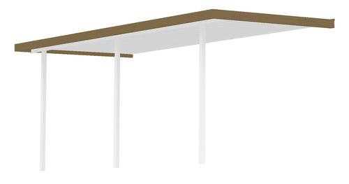 """11' 8"""" Wide x 8' Projection x 8' High Posts Americana Sierra Attached Midwest Patio Cover/Carport with White Roof and Posts, Brown Gutter"""
