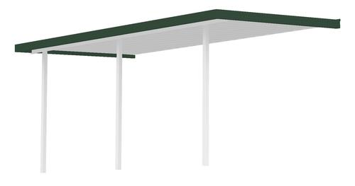 """36' 8"""" Wide x 12' Projection x 8' High Posts Americana Sierra Attached Northern Patio Cover/Carport with White Roof and Posts, Dark Green Gutter"""