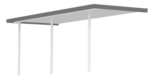 """31' 8"""" Wide x 11' Projection x 8' High Posts American Sierra Attached Midwest Patio Cover/Carport with White Roof and Posts, Grey Gutter"""