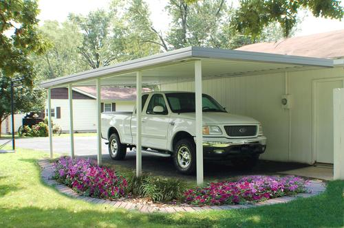"16' 8"" Wide x 7' Projection x 8' High Posts Americana Sierra Attached Northern Patio Cover/Carport Ivory Roof/Posts Grey Gutter"