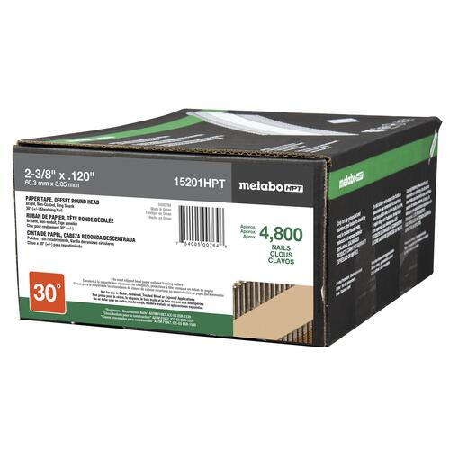 Hitachi 15233 2-3//8 x.120 Paper Tape Ring Shank Hot-Dip Galvanized Offset Round Head,4,800-Count