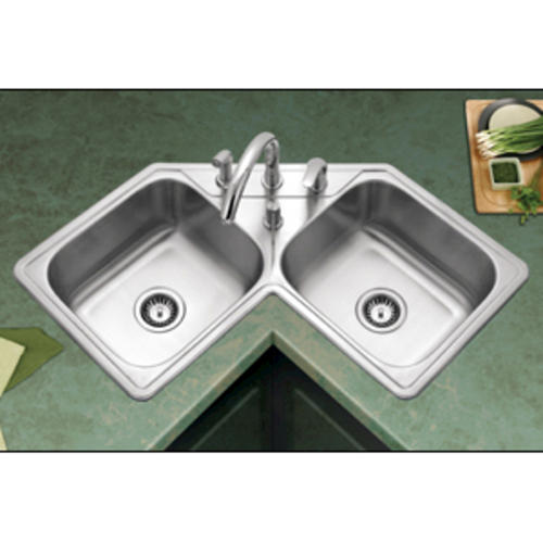 Houzer Legend Drop In 31 7 8 Stainless Steel 4 Hole Double Bowl Kitchen Corner Sink At Menards