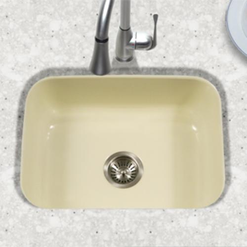 Houzer Undermount 22 3 4 Biscuit Porcelain Enameled Steel Single Bowl Kitchen Sink At Menards