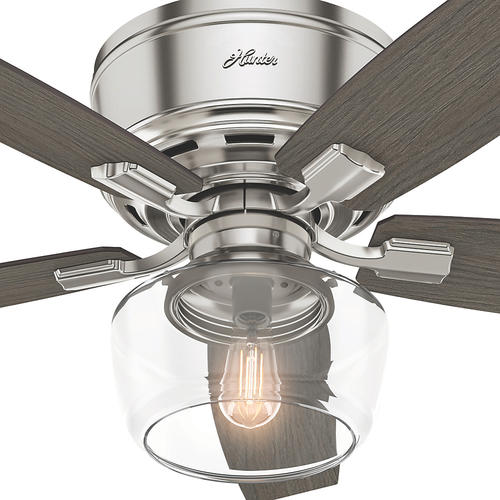 "Hunter Low Profile 52 Led Ceiling Fan At Menards: Hunter® Fan Bennett 52"" LED Indoor Brushed Nickel Ceiling"