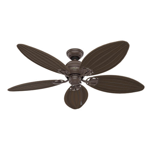 Hunter Fan Caribbean Breeze 54 In Indoor Weathered Bronze Ceiling With Light Kit At Menards