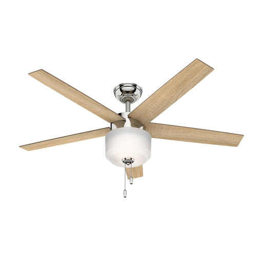 "Hunter Morelli 52 Led Brushed Nickel Ceiling Fan At Menards: Hunter® Kershaw 52"" LED Polished Nickel Ceiling Fan At"