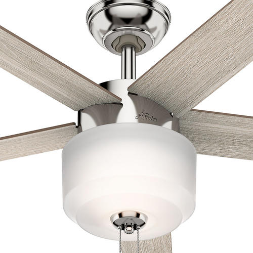 "Hunter Low Profile 52 Led Ceiling Fan At Menards: Hunter® Kershaw 52"" LED Polished Nickel Ceiling Fan At"