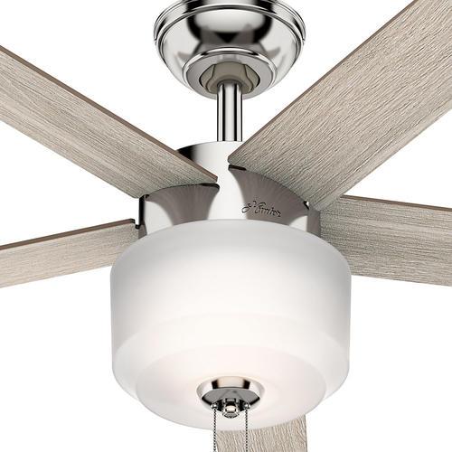 "Hunter Bowmore 52 Led Ceiling Fan At Menards: Hunter® Kershaw 52"" LED Polished Nickel Ceiling Fan At"