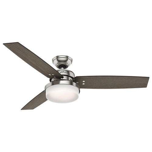 "Hunter Morelli 52 Led Brushed Nickel Ceiling Fan At Menards: Hunter® Fan Sentinel 52"" LED Indoor Brushed Nickel Ceiling"