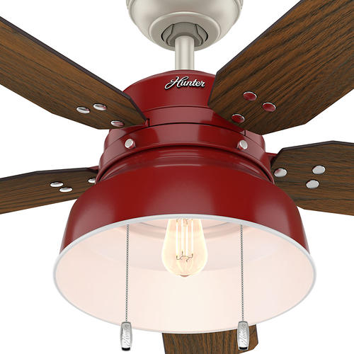 "Hunter® Mill Valley 52"" Barn Red LED Outdoor Ceiling Fan"