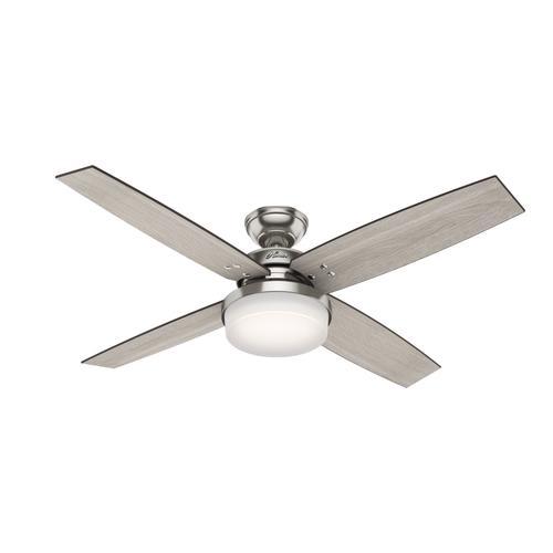 "Hunter Bowmore 52 Led Ceiling Fan At Menards: Hunter® Mitros 52"" LED Brushed Nickel Ceiling Fan At Menards®"