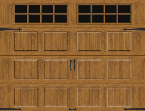 Ideal Door® Designer 10' x 8' Oak Medium Insulated Garage Door with Windows (R-Value 6.5)