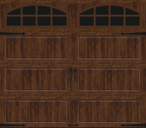 Ideal Door Designer Oak Walnut Insulated Garage Door With Windows At Menards