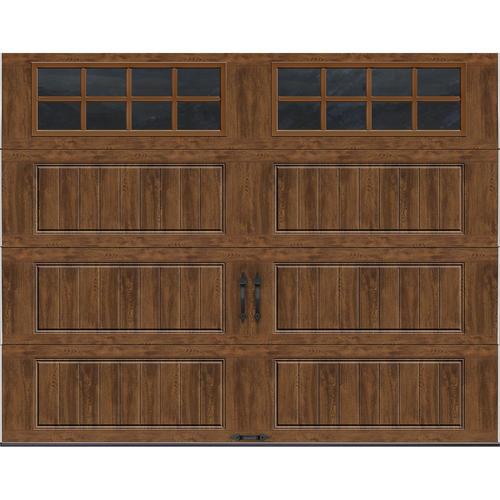 ideal door designer oak dark insulated garage door with windows at menards - Garage Doors Menards