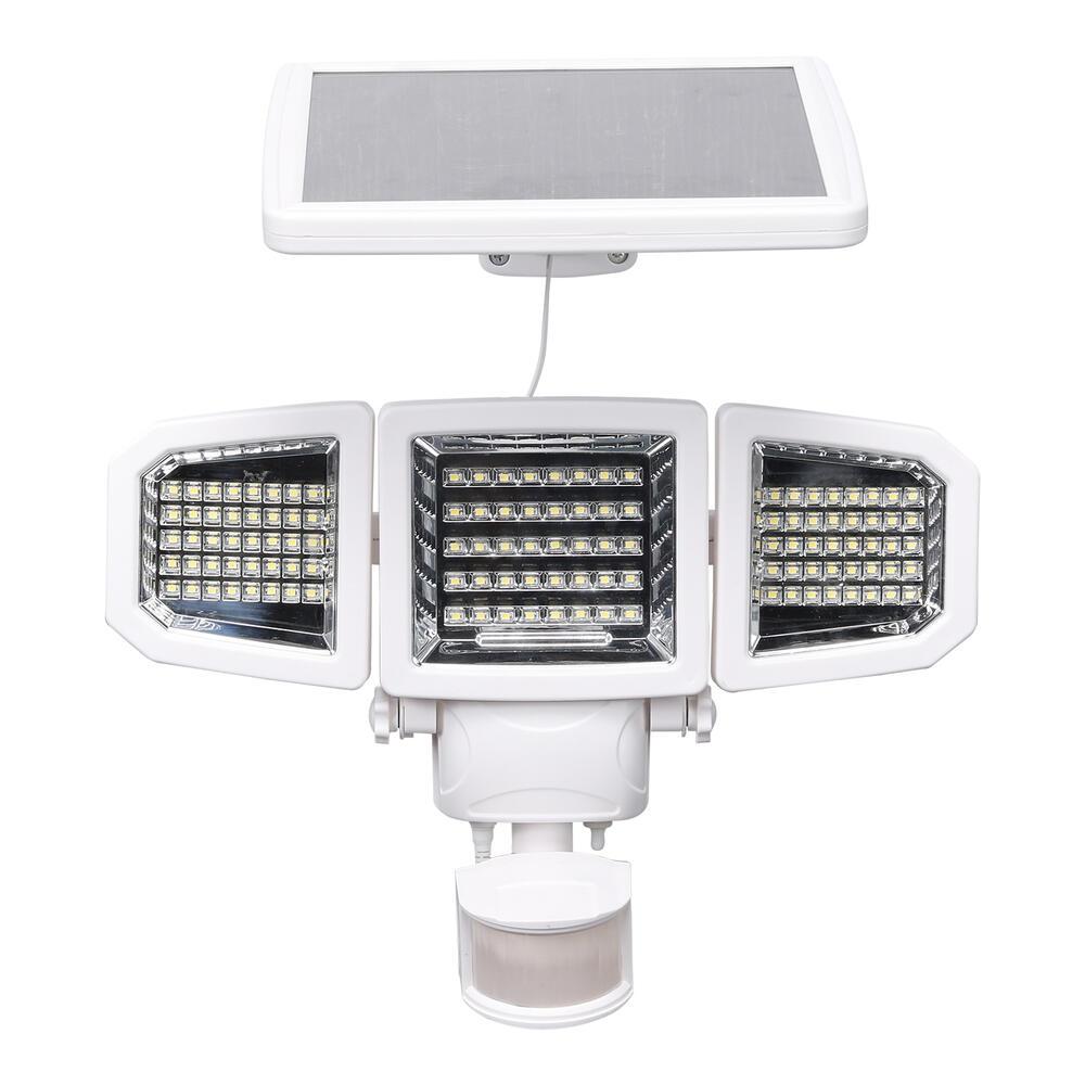 Patriot Lighting White Integrated Led Triple Head Solar Powered Motion Sensor Outdoor Security Flood Light At Menards