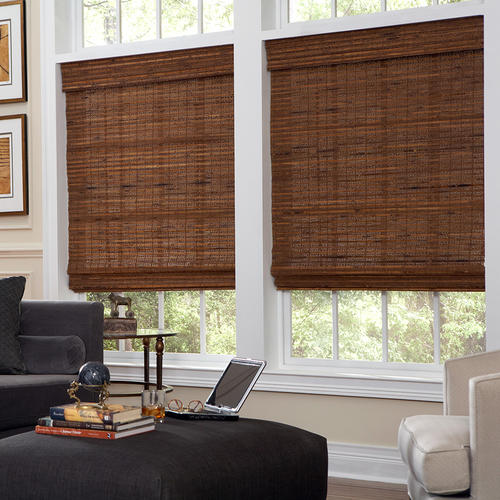 Intercrown Cordless Kona Woven Wood Roman Shades 64 Length at