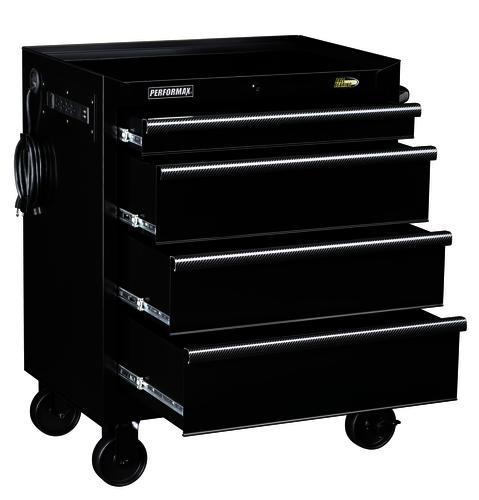 "performax® 27"" black 4-drawer mobile tool cabinet at menards®"