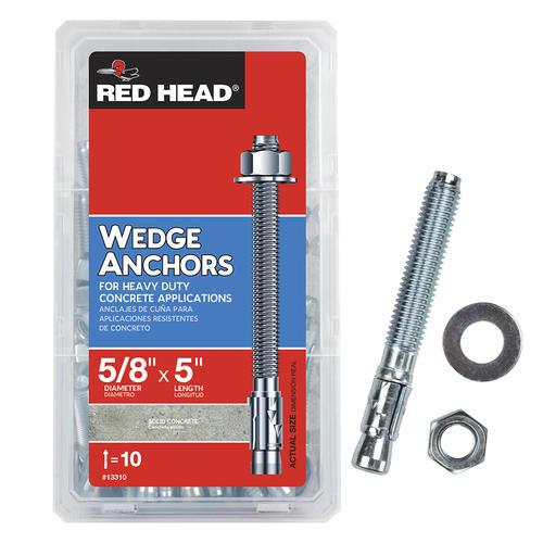"""3//8/"""" X 5/"""" Wedge Anchor Red Head Set of 4"""