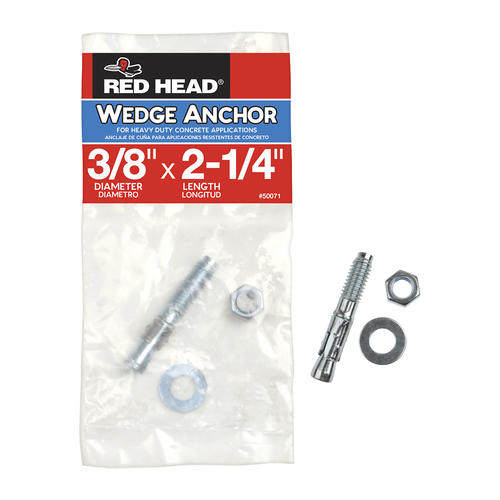 """NEW Heavy Duty Concrete Red Head TRUBOLT 15-Pack  3//8/"""" x 5/""""  Wedge Anchors"""