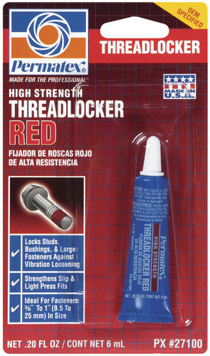 Adhesives, Sealants & Tapes Glues, Epoxies & Cements Permatex 27100 High Strength Threadlocker Thread Lock Red 6ml Online Discount