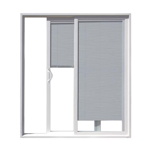 jeld wen builders series 72 x 80 vinyl sliding patio door with internal blinds at menards - Blinds For Patio Doors