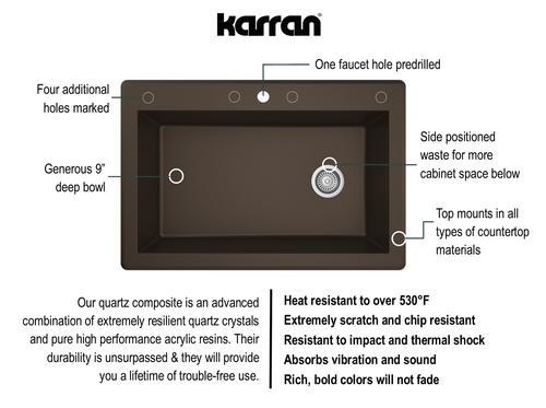 "Karran Top Mount 33"" Quartz 1-Hole Single Bowl Kitchen"