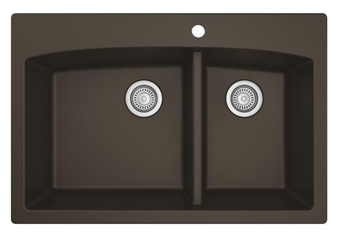 "Karran Top Mount 33"" Quartz 1-Hole Double Bowl Kitchen"