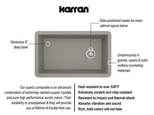 """Karran Undermount 32"""" Quartz Single Bowl Kitchen Sink At"""