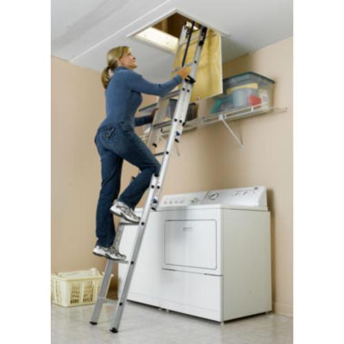 Keller® Compact Small Spaces 7u0027 To 9u0027 Aluminum Attic Ladder Type I At  Menards®