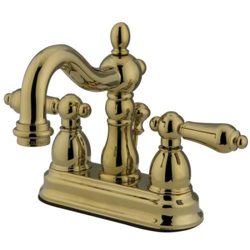 Polished Brass Kingston Brass KB1602AL Heritage 4-Inch Centerset Lavatory Faucet with Metal Lever Handle