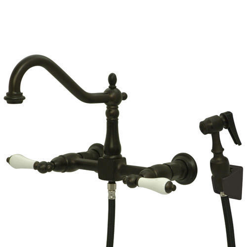 Kingston Brass Heritage Wall Mount Two Handle Oil Rubbed Bronze Kitchen Faucet At Menards