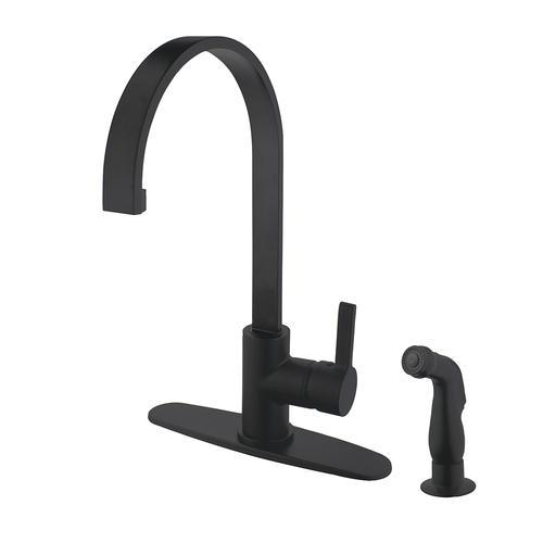 Kingston Brass Continental One Handle Matte Black Kitchen Faucet